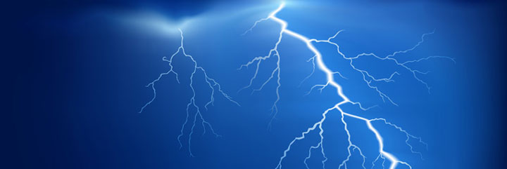 Lightning bolts in dark blue sky